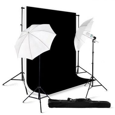 800 Watt Continuous Lighting Photo Studio Kit / Black & White Backgrounds BW01