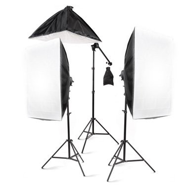 "StudioFX 2400 Watt Large Photography Softbox Continuous Photo Lighting Kit 28"" x 20"" + Boom Arm Hairlight with Sandbag by Kaezi"