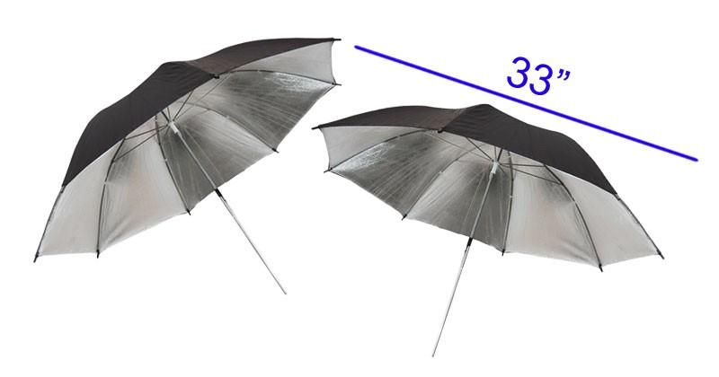 (2) Photo Studio Black Silver Umbrella Reflector