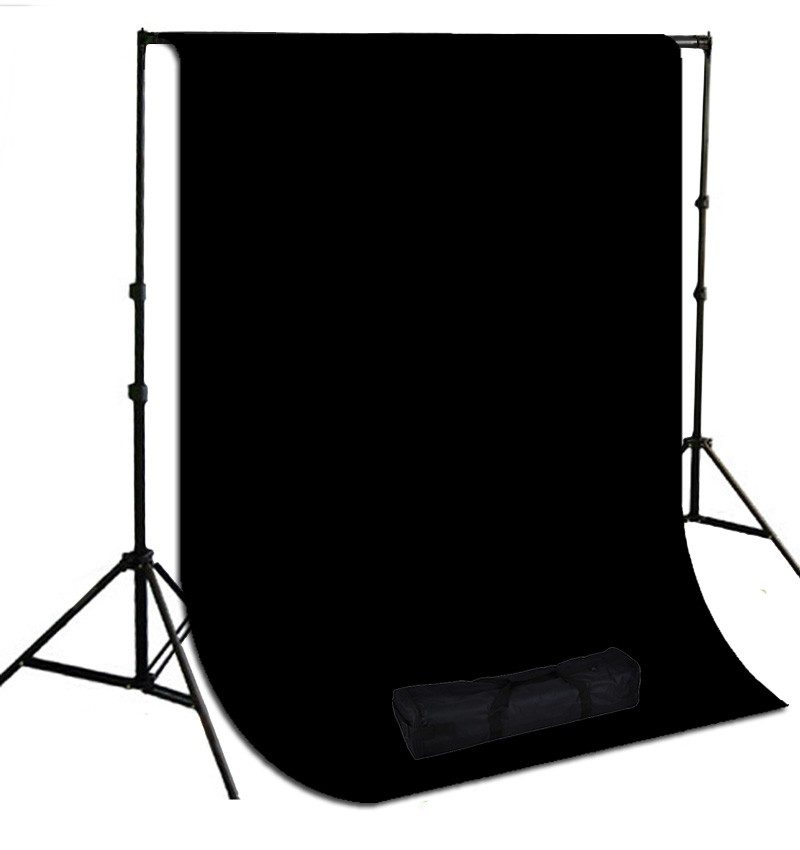 10 x 10 ft. Black Muslin Photography Background with Stand Kit