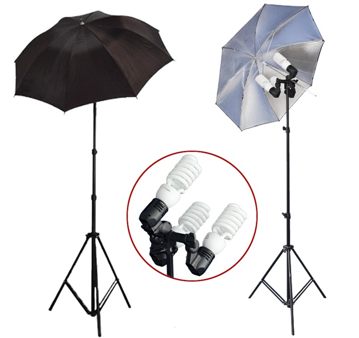 1200 Watt Photo Studio 3 Bulb Holder Lighting Kit Photo Video / 6 x 45w Bulbs / 2 Black Silver Umbrella Reflector