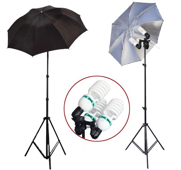 2300 Watt Photo Studio 3 Bulb Holder Lighting Kit Photo Video / 6 x 85w Bulbs / 2 Black-Silver Umbrella Reflector