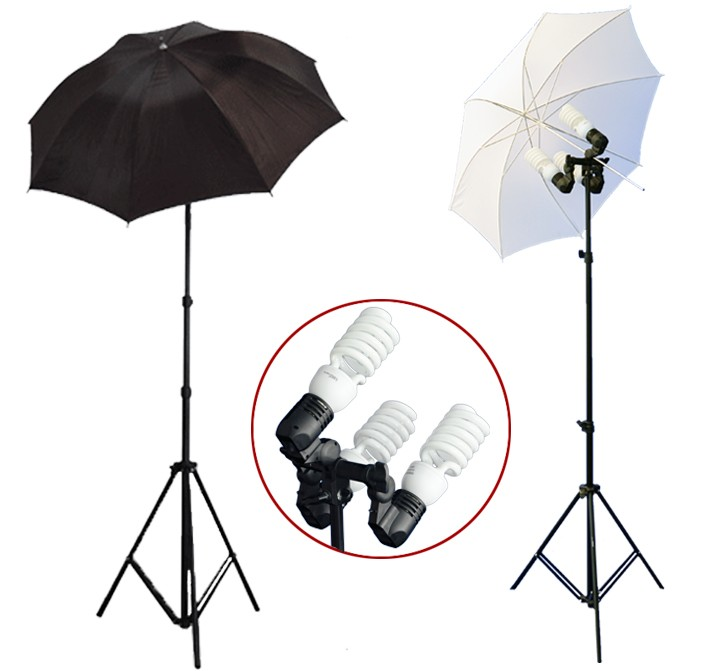 1200 Watt Photo Studio 3 Bulb Holder Lighting Kit Photo Video / 6 x 45w Bulbs / 1 White Umbrella / 1 Black Umbrella
