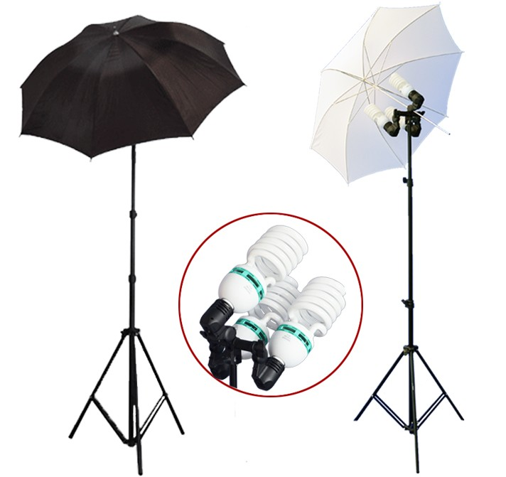 2300 Watt Photo Studio 3 Bulb Holder Lighting Kit Photo Video / 6 x 85w Bulbs / 1 White Umbrella / 1 Black Umbrella