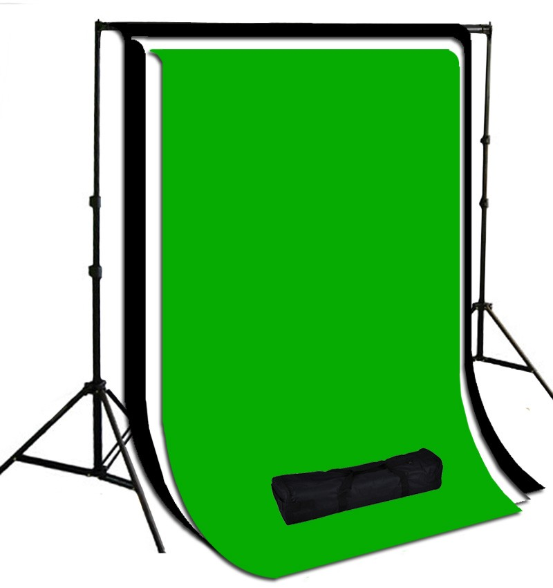 10 x 20 ft. White / Black / Green Muslin Photography Background with Stand Kit