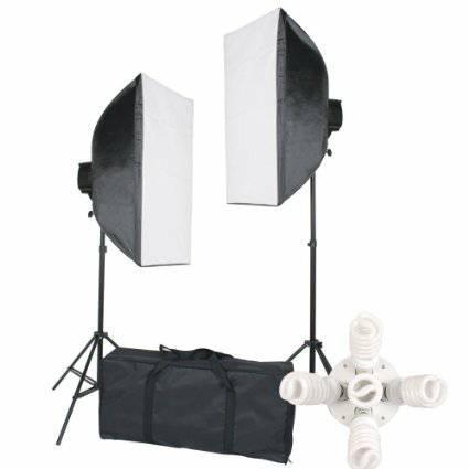 2000 Watt Photo Studio Lighting Softbox Video Light Kit & Carry Case