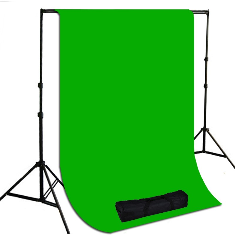 10 x 10 ft. Chromakey Green Muslin Photography Background with Stand Kit