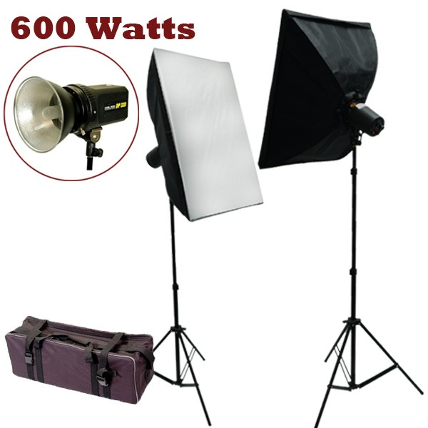 600 Watt Photo Studio MonoLight Strobe Flash Lighting Softbox Kit
