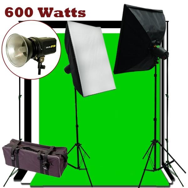 600W Flash/Strobe Softbox Lighting 10x20 ft Photo Studio Kit K05-600S