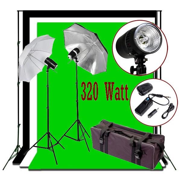 320W Flash/Strobe Lighting 10x20 ft Photo Studio Kit K05-S