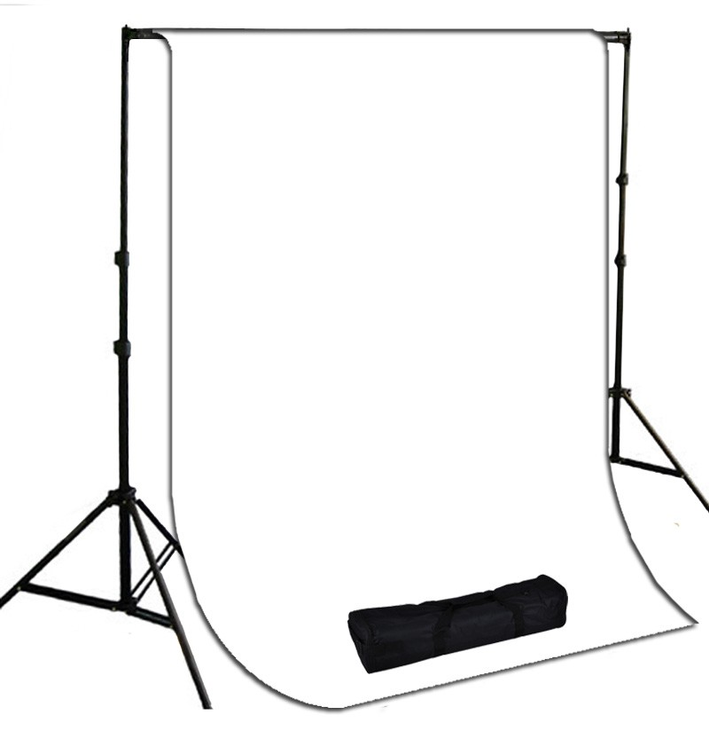 10 x 10 ft. White Muslin Photography Background with Stand Kit