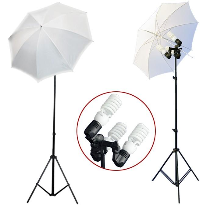 1200 Watt Photo Studio 3 Bulb Holder Lighting Kit Photo Video / 6 x 45w Bulbs / 2 White Umbrella