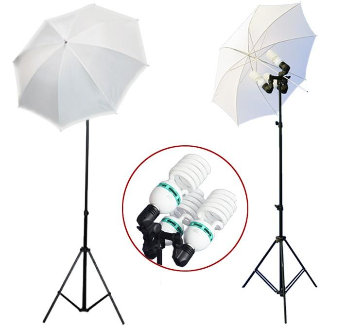 2300 Watt Photo Studio 3 Bulb Holder Lighting Kit Photo Video / 6 x 85w Bulbs / 2 White Umbrella