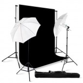 800 Watt Continuous Lighting Photo Studio Kit / Black & White Backgrounds BW01