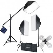 2400 Watt Photo Studio Lighting Softbox Plus Hairlight Boom