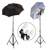 1200 Watt Photo Studio 3 Bulb Holder Lighting Kit Photo Video / 6 x 45w Bulbs / 2 Black Silver Umbrella Reflector