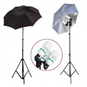 2300 Watt Photo Studio 3 Bulb Holder Lighting Kit Photo Video / 6 x 85w Bulbs / 2 Black-Silver Umbrella Reflector