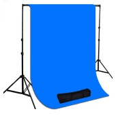 10 x 20 ft. Chromakey Blue Muslin Photography Background with Stand Kit