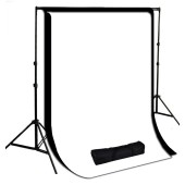 10 x 10 ft. White / Black  Muslin Photography Background with Stand Kit