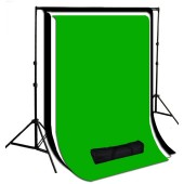 10 x 10 ft. White / Black / Green Muslin Photography Background with Stand Kit