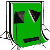 2000 Watt Photo Studio Lighting Softbox Video Light Kit & 10x10 ft Background Set  SB_BG1