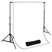 10 x 20 ft. White Muslin Photography Background with Stand Kit