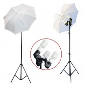 1200 Watt Photo Studio 3 Bulb Holder Lighting Kit Photo Video / 6 x 45w Bulbs / 2 White Umbrella