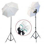 2300 Watt Photo Studio 3 Bulb Holder Lighting Kit Photo Video / 6 x 85w Bulbs / 2 White Umbrella