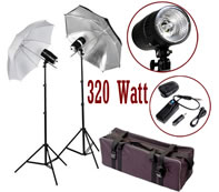 320 Watt Photo Studio MonoLight Strobe Flash Lighting Umbrella Kit